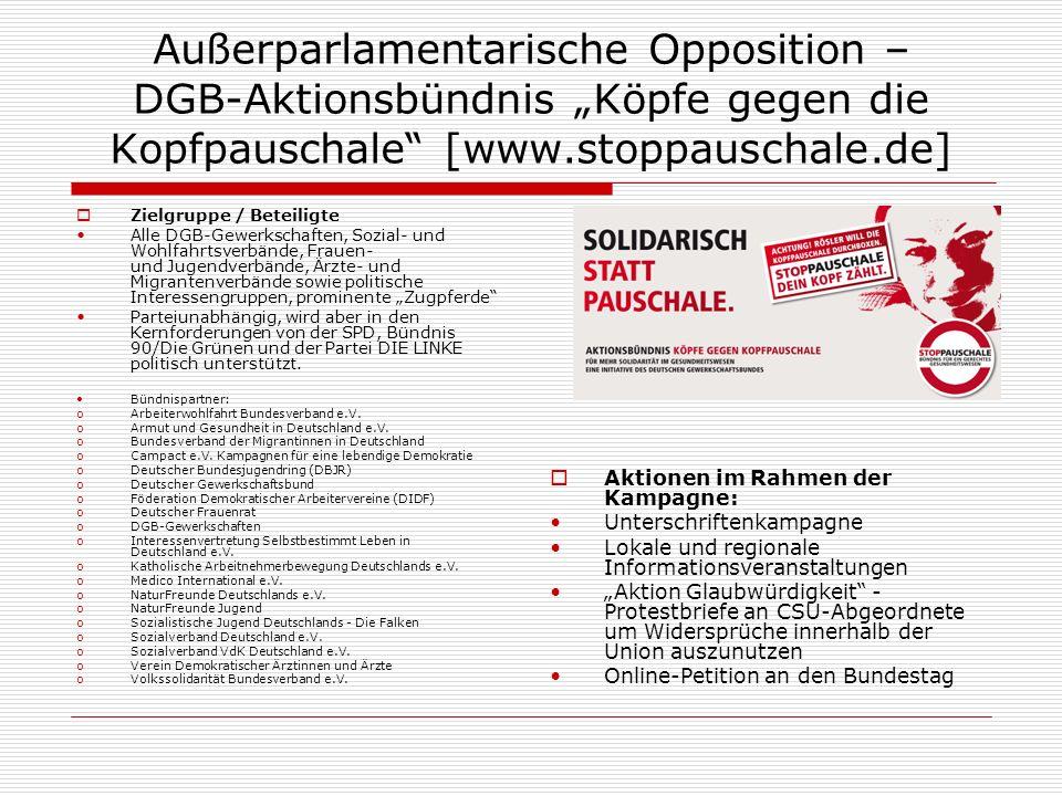 """Außerparlamentarische Opposition – DGB-Aktionsbündnis """"Köpfe gegen die Kopfpauschale [www.stoppauschale.de]"""